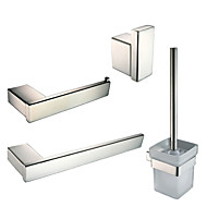 Polish Stainless Steel Bathroom Accessories Set with Towel Ring Robe Hook Toilet Paper Holder and Toilet Brush Holder