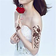 5Pcs Waterproof Brown Rose Pattern Temporary Body Art Tattoo Sticker