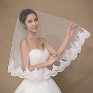 Wedding Veil One-tier Fingertip Veils Lace Applique Edge