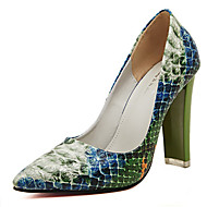 Women's Shoes Patent Leather Chunky Heel Pointed Toe Pumps/Heels Casual Green/Red