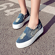 Women's Shoes Denim Flat Heel Platform/Creepers/Round Toe Loafers Outdoor/Casual Dark Blue/Light Blue