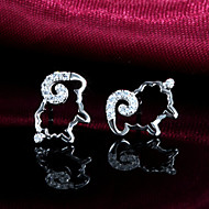 Women's r Stud Earrings With Cubic Zirconia S925 Sterling Silver  sheep lucky sheep Sterling Silver Earrings