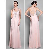 TS Couture® Formal Evening / Prom / Military Ball Dress - Pearl Pink Plus Sizes / Petite Sheath/Column Spaghetti Straps Floor-length Chiffon