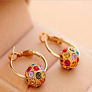 Hoop Earrings Pearl Cubic Zirconia Rhinestone Gold Plated Alloy Bohemian Fashion Screen Color Jewelry 2pcs