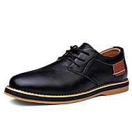 Men's Spring Summer Fall Winter Leather Wedding Office & Career Casual Party & Evening Flat Heel Black Blue Brown