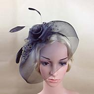 Dame Fjær/Nett Headpiece Bryllup/Spesiell Leilighet Blomster/Fuglebur Slør/fascinators Bryllup/Spesiell Leilighet 1 Deler
