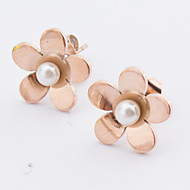 Women's Fashion Rose Gold Stainless Steel Flower Earring with Imitation Pearls