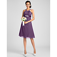 Knee-length Chiffon Bridesmaid Dress-Plus Size / Petite A-line / Princess Jewel / Straps