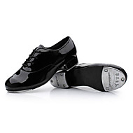 Non Customizable Men's Dance Shoes Tap Satin Chunky Heel Black/White