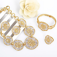 WesternRain Gold Plated 24k Hollow out Classic Bridal Necklace Jewelry Set