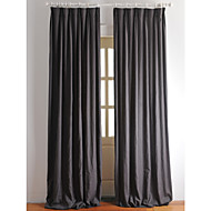 Two Panels Linen Cotton Solid Panel Curtains Drapes Dark Grey