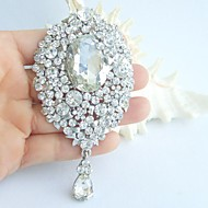 Wedding 3.94 Inch Silver-tone Clear Rhinestone Crystal Bridal Brooch Pendant Wedding Decorations