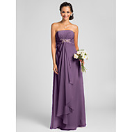 Floor-length Chiffon Bridesmaid Dress - Candy Pink / Royal Blue / Ruby / Champagne / Grape Plus Sizes / Petite Sheath/Column Strapless