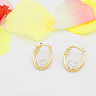 Women's Fashion Gold Plated Stainless Steel Earrings with Heart Rhinestone