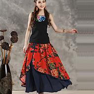 Women's Casual/Print Maxi Skirts , Cotton/Linen Micro-elastic
