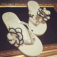 Women's Summer Flip Flops Synthetic Outdoor / Casual Low Heel Pearl / Flower Beige