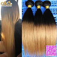"3pcs / lot 10 ""-30"" peruansk jomfru hårfarge 1b27 rett menneskehår vever"