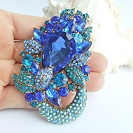 2.95 Inch Gold-tone Blue Rhinestone Crystal Flower Brooch Pendant Art Decorations