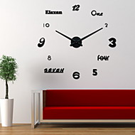 Uermerstar Diy Large Room Decor Wall Clock Black Color Modern Style Diameter 39 in