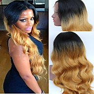 Long Blonde Synthetic Lace Front Wig Heat Resistant Kanekalon Hair Ombre Natural Black To Blond Tone Color Wavy Wigs