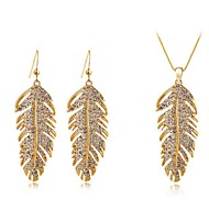European Style Leaf Shape Metal Necklace Earring Jewelry Sets(White,Gold)(1Sets)