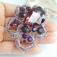 2.36 Inch Silver-tone Purple Rhinestone Crystal Flower Brooch Pendant Art Decorations