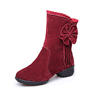 Modern Women's Dance Shoes Boots Velvet Breathable Cotton-padded Low Heel Black/Red