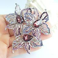 2.76 Inch Silver-tone Purple Rhinestone Crystal Flower Brooch Pendant Art Decorations