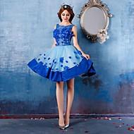 Cocktail Party Dress - Royal Blue Princess Scoop Short/Mini Satin