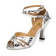 Customizable Women's / Kids' Dance Shoes Satin Satin Latin Heels Flared Heel Indoor / Outdoor / Practice / Beginner / Professional Silver