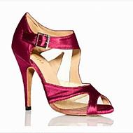 Customizable Women's/Kids' Dance Shoes Latin/Samba Satin Flared Heel Blue/Red