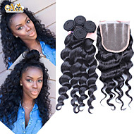 4Pcs/Lot 10''-30'' Peruvian Virgin Hair Loose Wave Hair Closure with Wefts Peruvian Loose Wave Hair Bundles