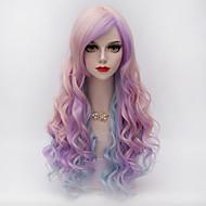 Harajuku μόδας μακριά κυματιστά μαλλιά πλευρά έκρηξη ροζ&μπλε κλίση συνθετικό lolita cosplay κόμμα σέξι γυναίκες περούκα