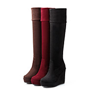 Women's Shoes Fleece Platform Fashion Boots/Round Toe Boots Casual Black/Brown/Red