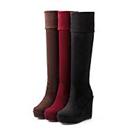 Dames Lente / Herfst / Winter Modieuze laarzen / Ronde neus Fleece Informeel Hak Rits Zwart / Bruin / Rood