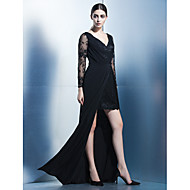 TS Couture® Formal Evening Dress Sheath / Column V-neck Asymmetrical Chiffon / Lace with Lace / Side Draping