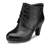 Aokang Women's Shoes Leather Chunky Heel Fashion Boots/Comfort/Round Toe/Closed Toe Boots Outdoor/Office & Career