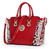 Women Bags All Seasons Patent Leather Shoulder Bag Tote with for Shopping Casual Formal Office & Career Black Red Blue