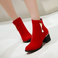 Women's Shoes Chunky Heel Fashion Boots/Round Toe Boots Dress/Casual Black/Red