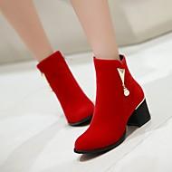 נעלי נשים - מגפיים - דמוי סוויד - מעוגל / מגפי אופנה - שחור / אדום - שמלה / קז'ואל - עקב עבה