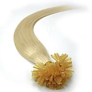 Natural Keratin fuusio Brasilian ihmisen hiusten pidennykset suora ennalta side u kärki 100 säikeitä