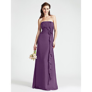 Floor-length Chiffon Bridesmaid Dress - Sheath / Column Strapless Plus Size / Petite with Flower(s) / Side Draping / Cascading Ruffles