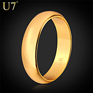 """U7® Unisex Lover's Rings """"18K"""" Stamp Real Gold/Platinum Plated 5MM Party  Jewelry Classic Wedding Promise Band Rings"""