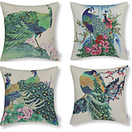 Green Peacock Patterned Cotton/Linen Decorative Pillow Cover(17*17inch)