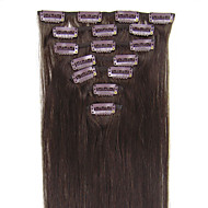 18inch-22inch leerjaar aaaa 7pcs 70g-80g clip in real indian remy human hair extensions # 02 donkerbruin