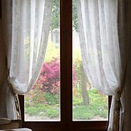 Two Panels White Jacquard Sheer Curtains Drapes
