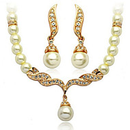 Women's Pearl/Alloy/Rhinestone Wedding/Party Jewelry Set With Pearl/Rhinestone