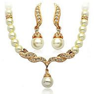 Conjunto de jóias Imitação de Pérola/Strass Liga/Strass/Imitação de Pérola Mulheres