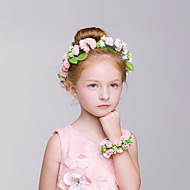 Flower Girl's Polyester Headpiece Bracelet- Wedding/Casual/Outdoor Wreaths 2 Pieces