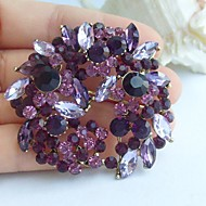 2.17 Inch Gold-tone Purple Rhinestone Crystal Flower Brooch Pendant Art Decorations